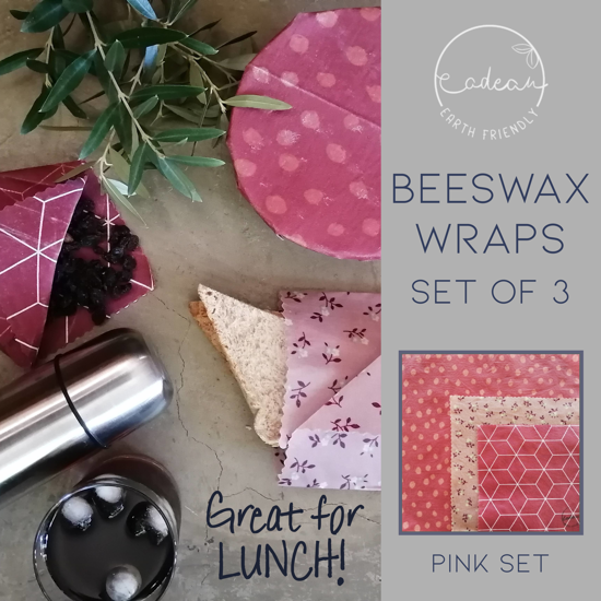 Picture of Beeswax Wraps_Pink  - Set of 3 wraps (20x20cm, 25x25cm, 35x35cm)
