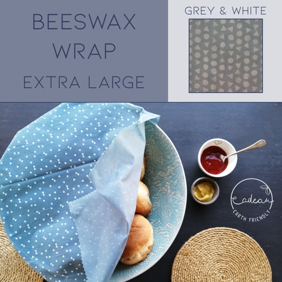 Picture of Beeswax Wraps_Grey & White  - Extra Large Wrap (40x50cm)