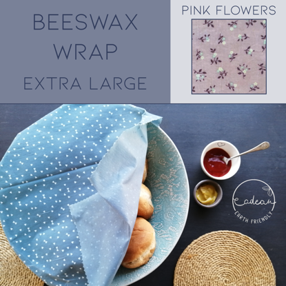Picture of Beeswax Wraps_Pink Flowers  - Extra Large Wrap (40x50cm)