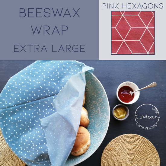 Picture of Beeswax Wraps_Pink Hexagons  - Extra Large Wrap (40x50cm)