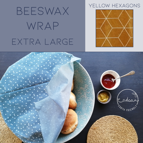 Picture of Beeswax Wraps_Yellow Hexagons  - Extra Large Wrap (40x50cm)