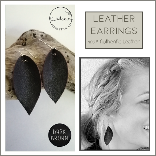 Picture of Leather Earrings_ Dark Brown– single layer